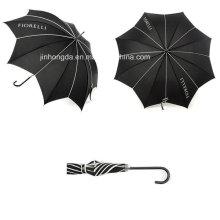 Logo Printing Black Leaf Shape Canopy Straight Umbrella (YSC0007)