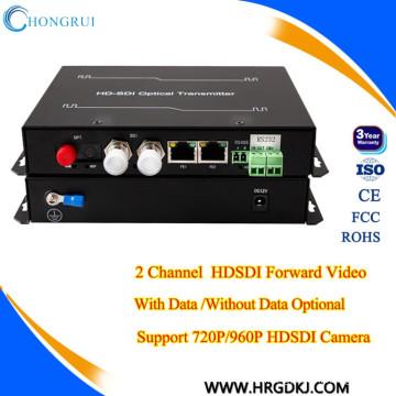 émetteur vidéo cctv et récepteur 2 canaux vidéo hd sdi convertisseur optique vidéo