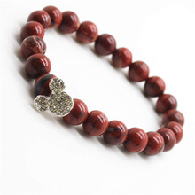 Red Jasper 8MM Round Beads Stretch Gemstone Bracelet with Diamante alloy Mickey Piece