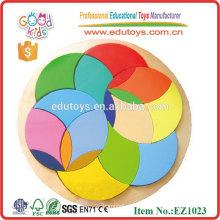 EZ1023 Preescolar Colorido Círculo De Madera Patrón Bloques
