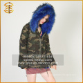 Army Green Best Quality Genuine Raccoon Jacket Long Fur Parka