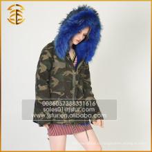 Army Green Лучшее качество Подлинная куртка из енота с длинным мехом Parka