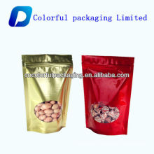 Nuts and dried food packaging bag with window/Aluminum Foil Stand Up Zipper Bag For Nuts Food Packaging