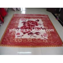 New Design Camel Color Flower Printed Raschel Mink Blankets