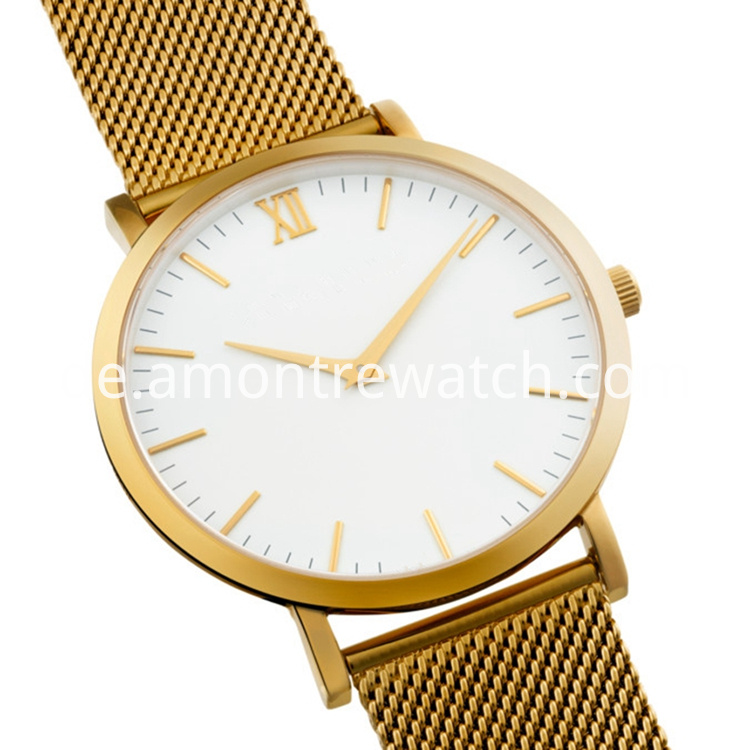 white dial gold strap watch