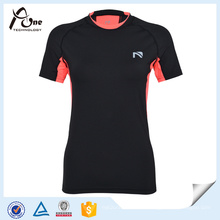 Mujeres de cuello doble Dry Fit T-Shirt Slim Fitness Wear