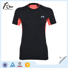 Mulheres Double Collar Dry Fit T-Shirt Slim Fitness Wear