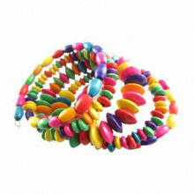 Ladies' Wooden Bracelet with Vintage African Style Colorful Hawaii Wooden Beads Bracelets