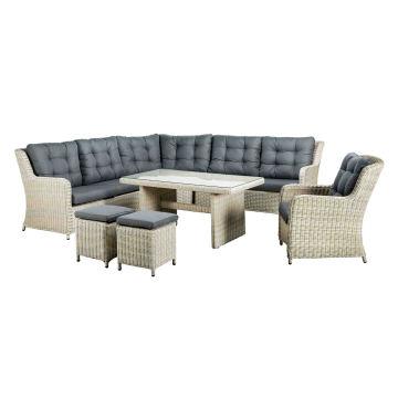 Jardim vime secional exterior sofá Lounge do pátio do rattan