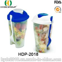 Coupe en plastique réutilisable de salière de salade avec la fourchette (HDP-2018)