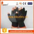 Black Nlyon Shell White PVC Dots Seamless Half Finger Cotton Working Gloves Dkp528