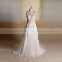 Bordado Backless de moda con cuentas de verano de gasa Bohemia vestido de boda de playa
