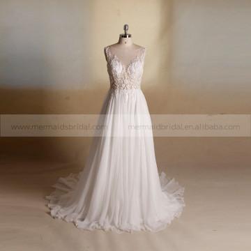 Fashionable Backless Embroidery Beaded Summer Chiffon Bohemian Beach Wedding Dress