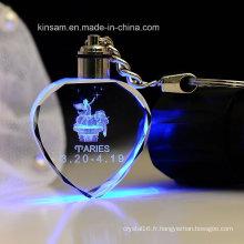 LED Coeur-Forme Mode Cristal Verre Porte-clés Cadeau