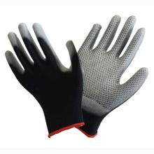 Polyester Liner Knit Handgelenk Schwarz PU Coated Handschuh