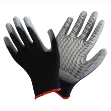 Polyester Liner Knit Wrist Black PU Coated Glove