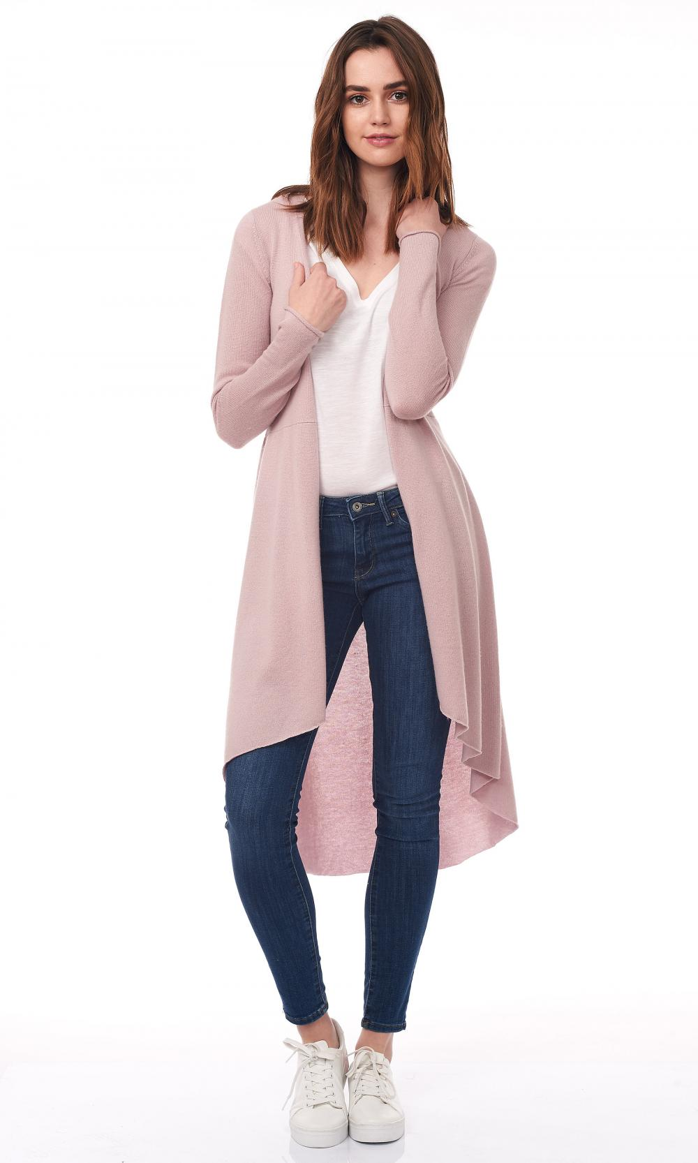 Ladies Long Cardigan Flared Duster