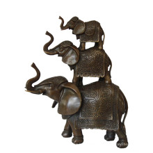 Animal Brass Statue Elephant Family Decoration Bronce Escultura Tpy-069