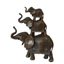 Animal Brass Statue Elephant Family Decoration Bronze Sculpture Tpy-069
