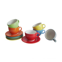 12PC Stoneware Glazed Cup and Saucer (91006-004)