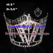 5inch Crystal Rhinestone Full Round Queen Crowns