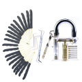 Transparent Practice Padlock with 24PCS Black Handle Titanized Lockpicking Tools (Combo 4-1)