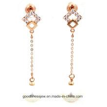 De buena calidad y Corea del pendiente de perlas blancas de la mujer pendientes de cadena larga en plata esterlina joyas de cristal E6325