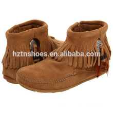 Senhoras Bota de Borracha Trabalho Tassel Ankle Boots para Mulher