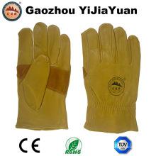Reforzamiento Palm Cow Grain Cuero Conductores de seguridad Guantes de trabajo