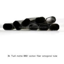 Tubo octogonal de fibra de carbono 30X30mm com braçadeiras de alumínio