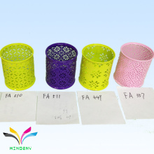colorful hollow embossing metal desk pencil pen holder for kids