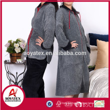 Long sleeve melange grey coral fleece zipper bathrobe