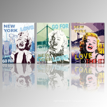 Nouvelle affiche vintage de toile de Monroe Affiche imprimée de 3 pièces pour Dropship
