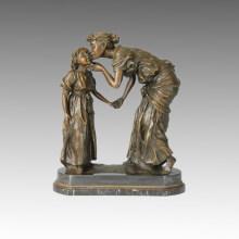 Figura clásica Escultura de bronce Madre-hija beso Deco latón estatua TPE-011