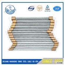 Fio de aço galvanizado encalhado 7 / 0.33mm 1 * 7 1.0mm para cabo óptico