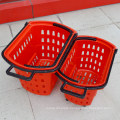 Supermarket Rolling Plastic Shopping Handle Basket
