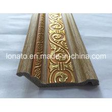 Color de madera PS Decoración Cornisa de moldeo
