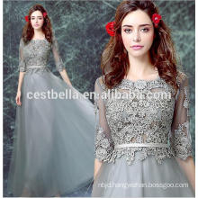 Grey Lace Elegant Floral Evening Party dress Evening Formal Dress