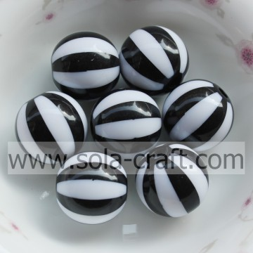 12MM Fashion Decorative Round Smooth Black & White Striped Food Grade Silicone Lantern Jewelry Gemstone Beads For Clothes
