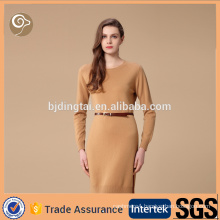 Mongolian long sleeve lady fashion cashmere dress