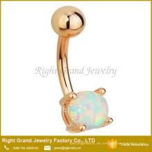 Chirurgenstahl Rose Gold plattiert synthetischen weißen Opal Edelstein Bauchnabel Ring