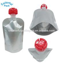 Faltbarer Tüllenbeutel / Wasserbeutel / Standbeutel mit Tülle und Pull-Puch-Top