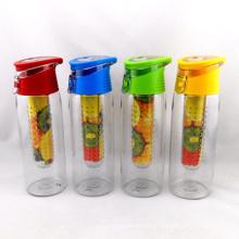 Frasco de água com infusor de fruta 700ml, planta de água potável para garrafa Tritan