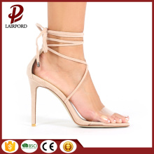 suede lace and pvc high heel sandals