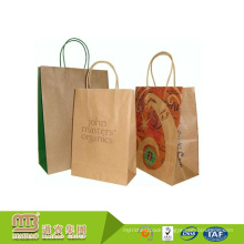 Different Styles Custom Design Recyclable Shopping Packaging Brown Kraft Paper Tote Bag With Logo Print