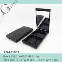 Retrô e elegante retangular compacta em pó caso com espelho AG-ES1063, embalagens de cosméticos do AGPM, cores/logotipo personalizado