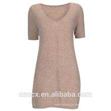 15STC3002 v túnica de cashmere no pescoço