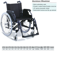 Double Cross Bar Aluminum Wheelchair with Nylon Upholstery Seat
