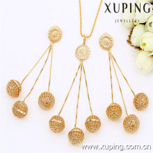 63126 Xuping new fashion jewelery 18k gold pendant and earring women sets