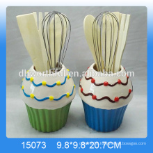 Factory direct sale ceramic utensil holder set with ice cream shape